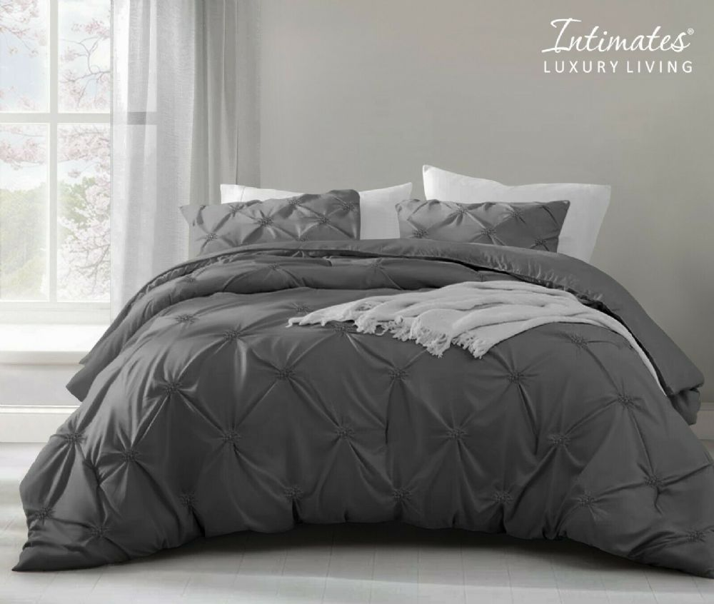 Pintuck Pinch Pleated Duvet Cover And Pillowcase Textured Stripe Polycotton Bedding Set Charcoal